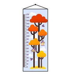 Kids height chart with tree vector