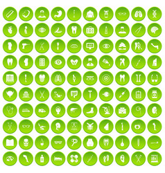 100 medicine icons set green vector