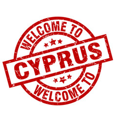 Welcome to cyprus red stamp vector