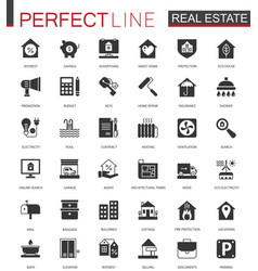 Black classic real estate icons set for web vector