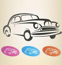 old retro car symbol vector image