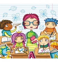 teacher and children vector image