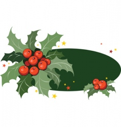 frame with holly branch vector image