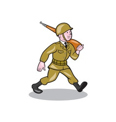 World war two soldier american cartoon isolated vector