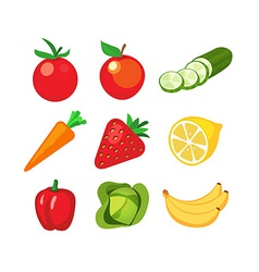 Icons of Fruits and Vegetables vector image