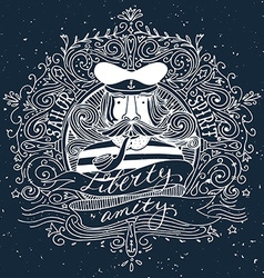 Hand drawn vintage label with a sailor on vector