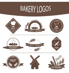 Set of bakery logos labels badges vector