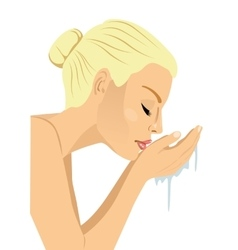Woman washing her face vector
