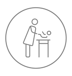 Mother taking care of baby line icon vector