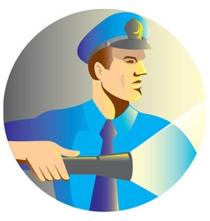 Security guard policeman flashlight vector