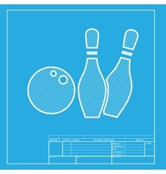 Bowling sign  white section of icon vector