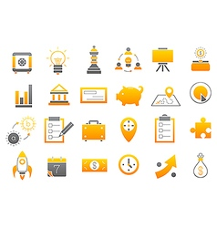Business yellow gray strategy icons set vector