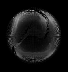 abstract grayscale mesh sphere on vector image vector image
