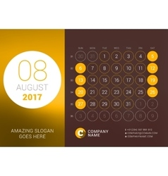 August 2017 Desk Calendar for 2017 Year vector image