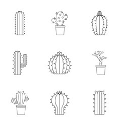 Cactus icon set outline style vector