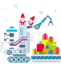 Christmas of the gnome operates the machine vector image