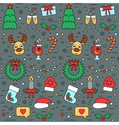 Colorful Christmas and New Year seamless pattern vector image vector image