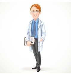 Cute male doctor in a shirt and tie and medical vector image vector image