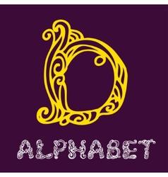 Doodle hand drawn sketch alphabet letter d vector