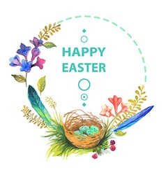 Easter card with wreath of watercolor flowers vector image