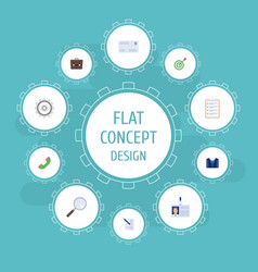 Flat icons goal magnifier contract and other vector