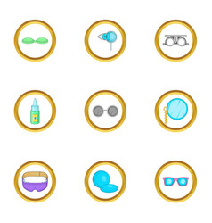 Goggles equipment icons set cartoon style vector