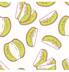 Hand drawn seamless pattern with kiwi vector