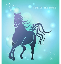 Happy Chinese New Year of horse 2014 postcard vector image