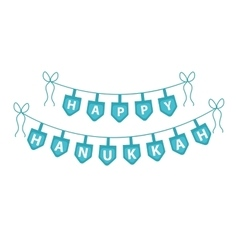 Happy hanukkah garland ribbon hanukkah garland vector