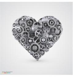 Heart made of cogwheel vector