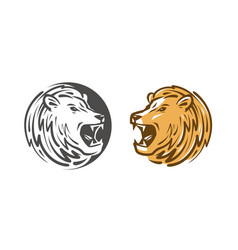 Lion roars logo or label animal wildlife emblem vector