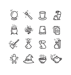Magic and magician tools thin line icons vector