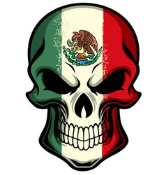 mexico flag painted on a skull vector image vector image
