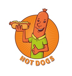sausage sells hot dogs vector image vector image