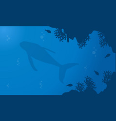 Silhouette of whale in underwater landscape vector