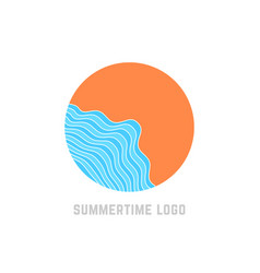 simple summertime logo with blue waves vector image