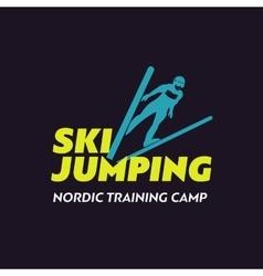 Ski sport logo icon template ski jumping skier vector