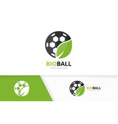 Soccer and leaf logo combination ball and vector