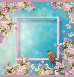 spring decorative frame vector image vector image