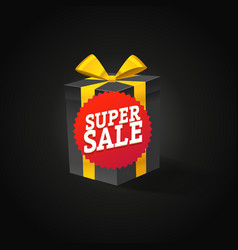 super sale concept beautiful gift box with red vector image vector image
