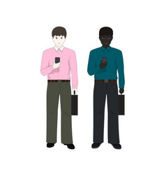 two businessmen with phones vector image