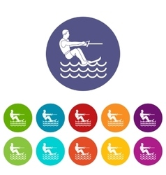 Water skiing man set icons vector image