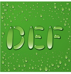 Water drop letters on green background 2 vector