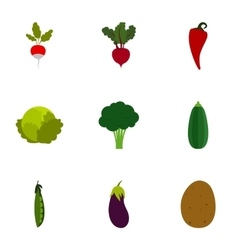 Types of vegetables icons set flat style vector