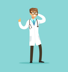 Smiling doctor character standing and talking on vector