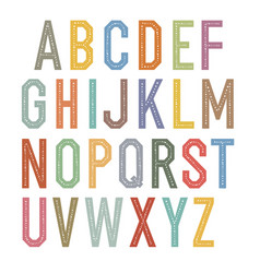 vintage kids alphabet colorful letters vector image