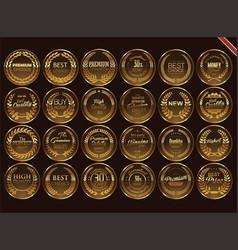 Premium quality retro vintage golden labels vector
