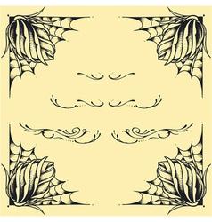 Roses frame oldskool tattoo style design vector