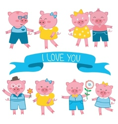 Cute pigs in love couples vector