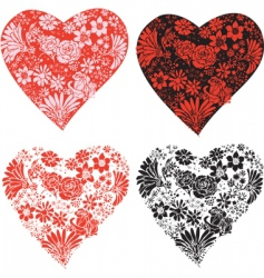 flower hearts vector image